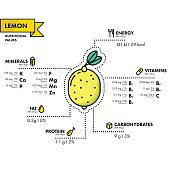 Lemon - nutritional information. Healthy diet. Simple flat infographics with data on the quantities of vitamins, minerals, energy and more.