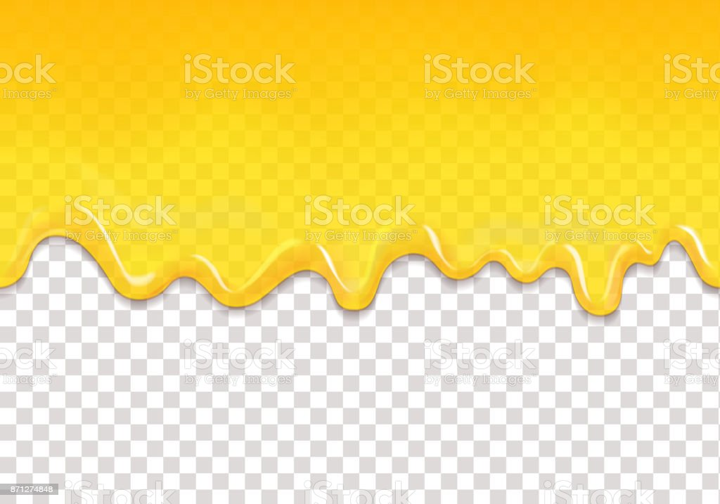 Lemon or honey jelly drops Seamless horizontal pattern with Yellow drips