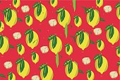Fruity background with lemon pattern stock illustration