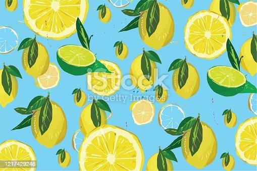 istock Lemon pattern on blue background illustrations 1217429246