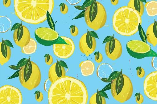 Lemon pattern on blue background illustrations