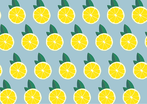 Lemon print. Abstract fruit yellow lemons