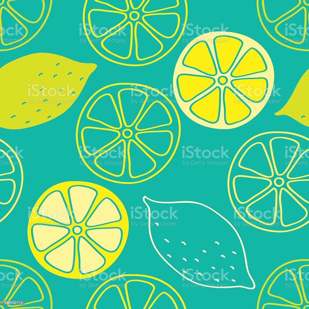 Lemon seamless pattern vector art illustration