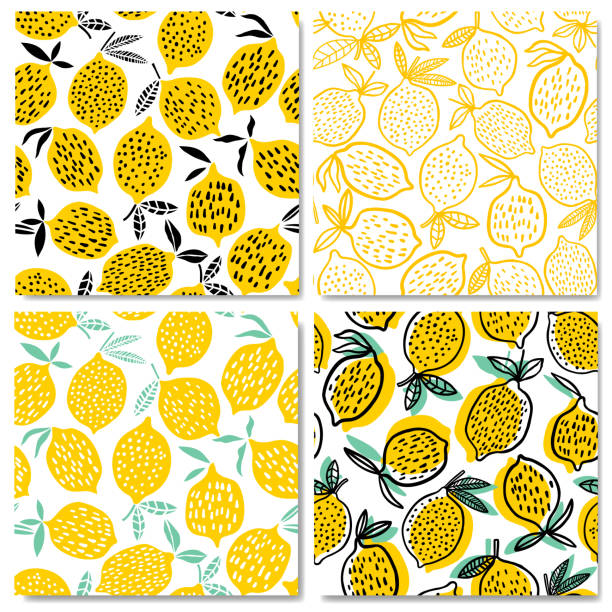 Lemon seamless pattern vector illustration. Summer design Lemon seamless pattern vector illustration. Summer fruit design lemon fruit stock illustrations