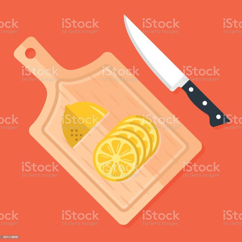 Zitronenscheiben Auf Küche Schneidbrett Und Küchenmesser ...