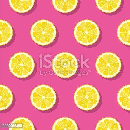 Lemon slices pattern on pink background. - Illustration