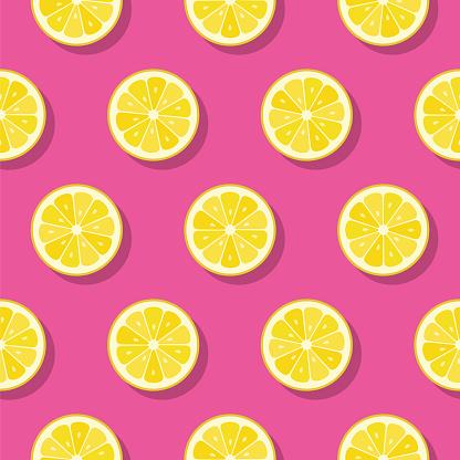 Lemon slices pattern on pink background.