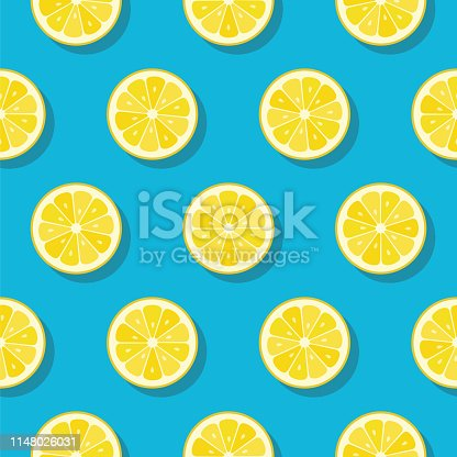 Lemon slices pattern on turquoise color background - Illustration