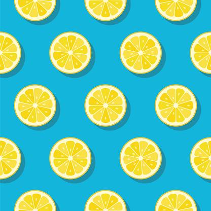Lemon slices pattern on turquoise color background.