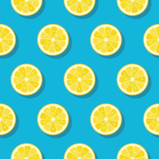 Lemon slices pattern on turquoise color background. Lemon slices pattern on turquoise color background - Illustration lemon fruit stock illustrations