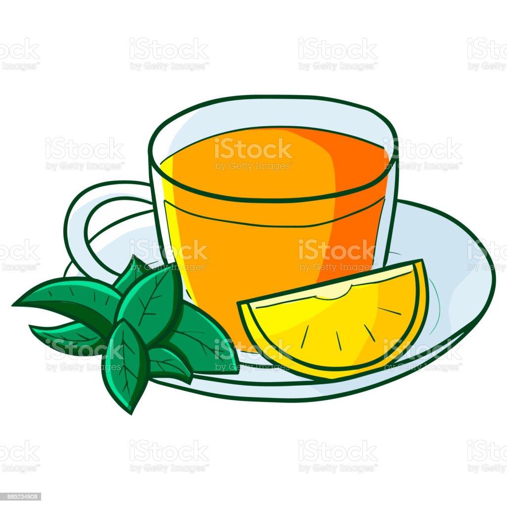Lemon tea in a cup. vector art illustration