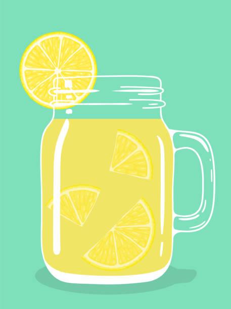 ilustrações de stock, clip art, desenhos animados e ícones de lemon tea in glass mason jar. vector hand drawn illustration. - chá bebida quente