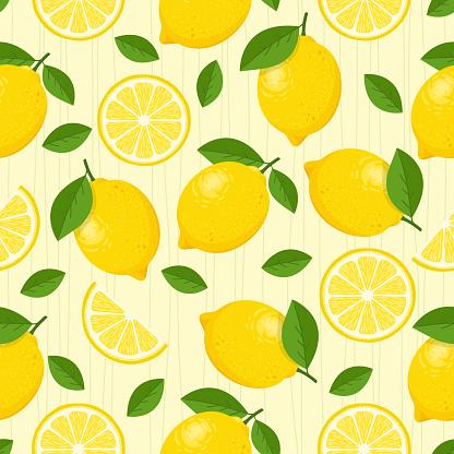 Lemon vector seamless pattern.