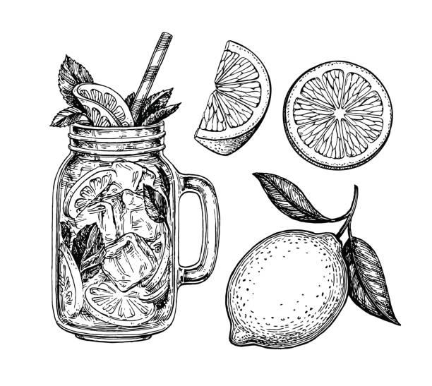 lemoniada i cytryna - cytryna stock illustrations