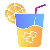 Lemonade flat icon. Cold drink color icons in trendy flat style. Glass of juice gradient style design, designed for web and app. Eps 10