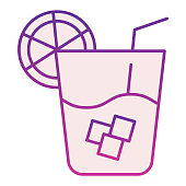 Lemonade flat icon. Cold drink violet icons in trendy flat style. Glass of juice gradient style design, designed for web and app. Eps 10