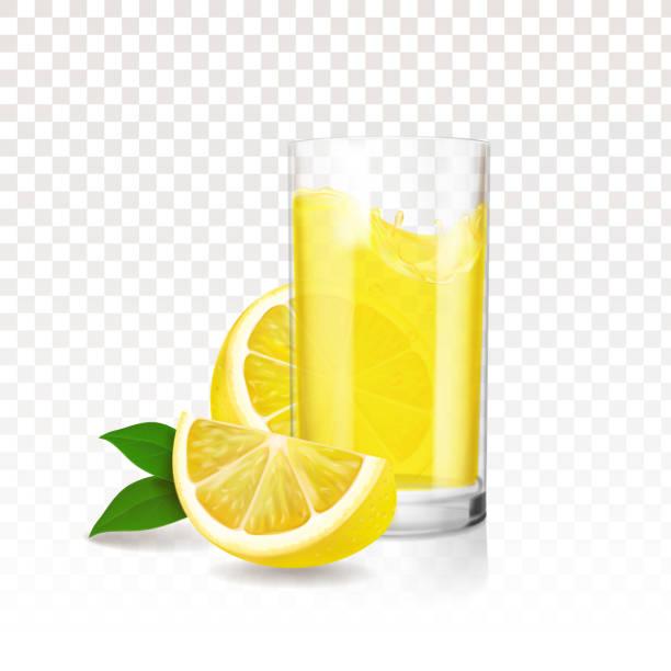 레모네이드 레몬의 조각으로 유리입니다. 현실적인 벡터 - 레모네이드 stock illustrations