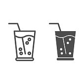 Lemonade in glass line and glyph icon. Drink with straw vector illustration isolated on white. Glass of juice outline style design, designed for web and app. Eps 10