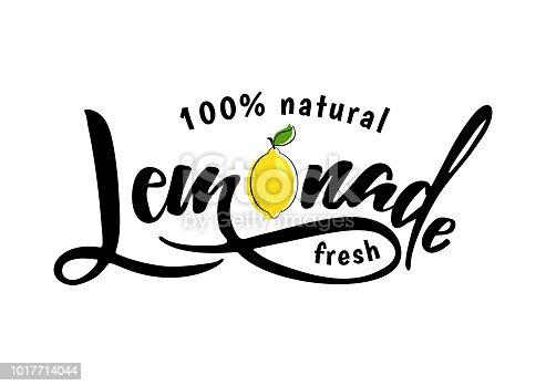 Lemonade lettering with lemon label. Brush calligraphy of word lemonade. Fresh, cold, homemade, sweet  lemon fresh drink. Vector illustration of tag, bange, sticker, logo. Lemon syrup, lemon juice.