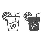 Lemonade line and glyph icon. Cold drink vector illustration isolated on white. Glass of juice outline style design, designed for web and app. Eps 10