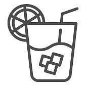 Lemonade line icon. Cold drink vector illustration isolated on white. Glass of juice outline style design, designed for web and app. Eps 10