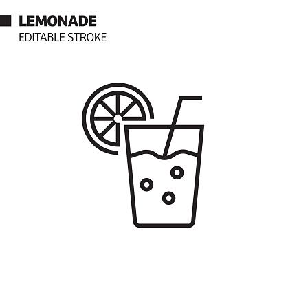 Lemonade Line Icon, Outline Vector Symbol Illustration. Pixel Perfect, Editable Stroke.