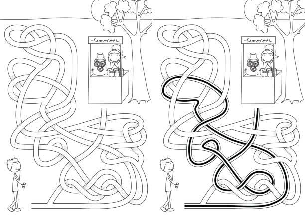 Labirinto de limonada - ilustração de arte em vetor
