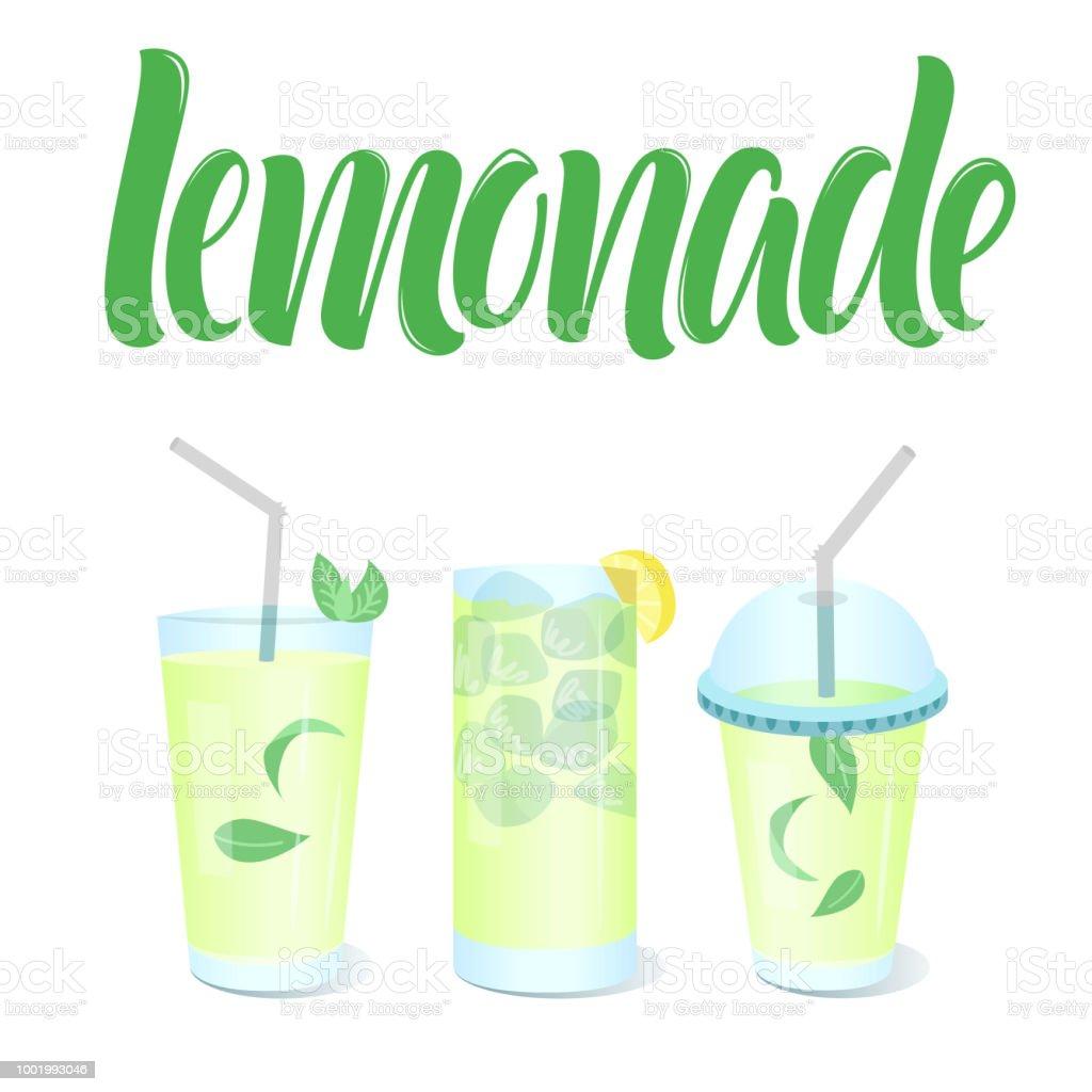 lemonade menu template with vector glasses and cup togo lemonades