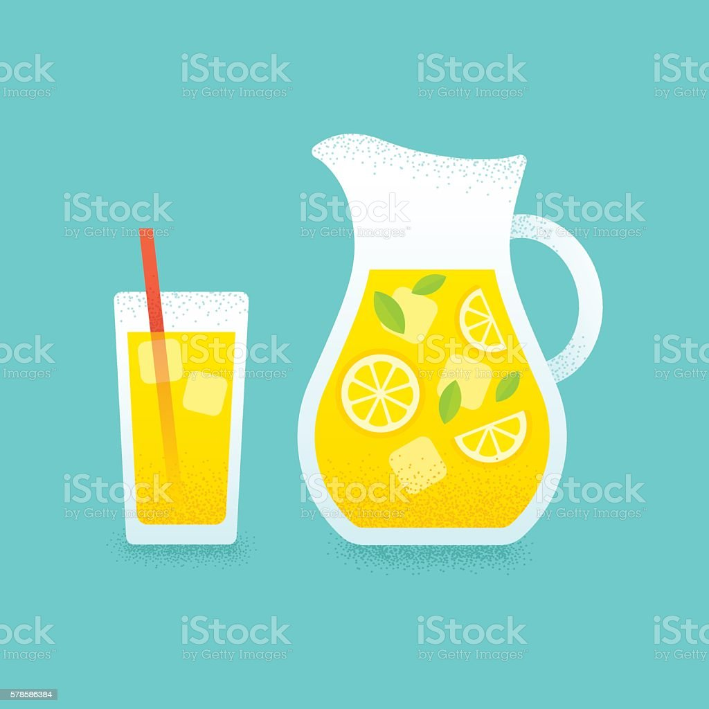 Lemonade pitcher and glass illustration. vector art illustration
