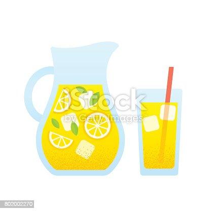 istock Lemonade pitcher and glass 802002270