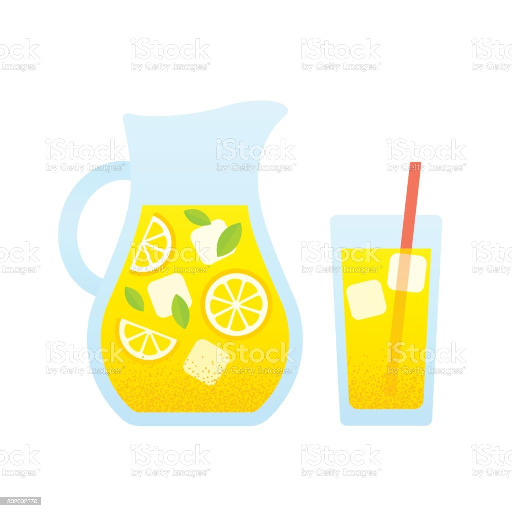 Lemonade pitcher and glass - illustrazione arte vettoriale