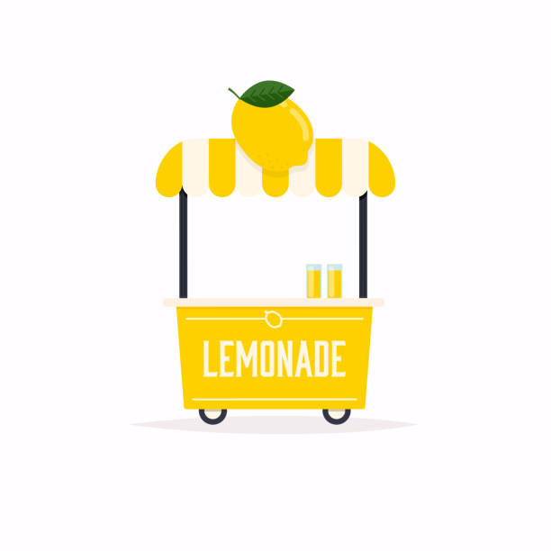 Lemonade stand cart. Street food cart. Vector Illustration. Lemonade stand cart. Street food cart. Vector Illustration. lemonade stand stock illustrations