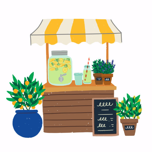 Lemonade stand clip art Lemonade stand with citrus trees in pots illustration. Flat style image of cooling beverage pitcher with menu chalkboard, jar, glasses and plants. Refreshing drink stand for hot summer days. Vector lemonade stand stock illustrations