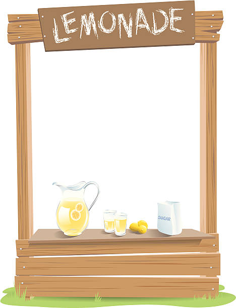 Lemonade Stand A lemonade stand with a pitcher of lemonade, glasses, lemons and a bag of sugar makes a frame with space for copy or title. Lettering, lemonade ingredients, sign board all on separate layers for easy customization. lemonade stand stock illustrations