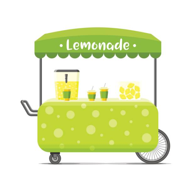 Lemonade street food cart. Colorful vector image Fresh cold lemonade street food cart. Colorful vector illustration, cartoon style, isolated on white background lemonade stand stock illustrations