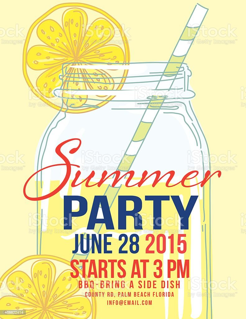 Lemonade Summer Beach Party Invitation Template stock vector art – Free Summer Party Invitation Templates