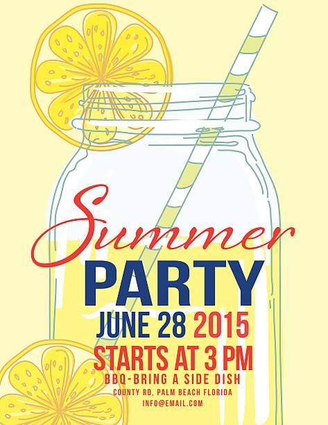 Royalty Free Lemonade Summer Beach Party Invitation ...