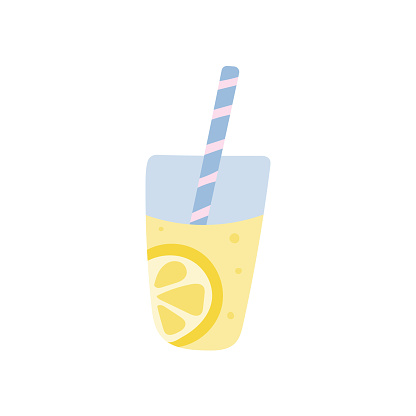 Lemonade with a straw in a glass on a white background. Vector illustration in flat style
