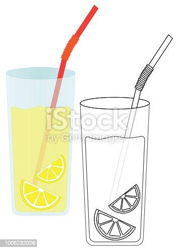 Ilustración de Limonada Con Limón Página Para Colorear Juego Para ...