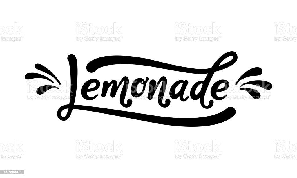 Lemonade word lettering. Black text on white background. Summer fresh drink. Modern calligraphy. Vector illustration. vector art illustration