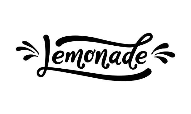 레모네이드 단어 글자입니다. 흰색 배경에 검정 텍스트입니다. 여름 신선한 음료입니다. 현대 서 예입니다. 벡터 일러스트입니다. - 레모네이드 stock illustrations