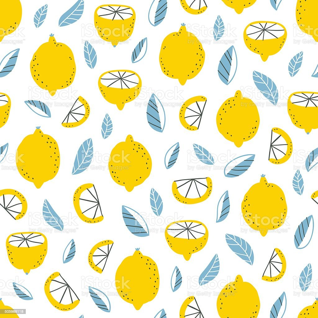 Lemons pattern vector art illustration