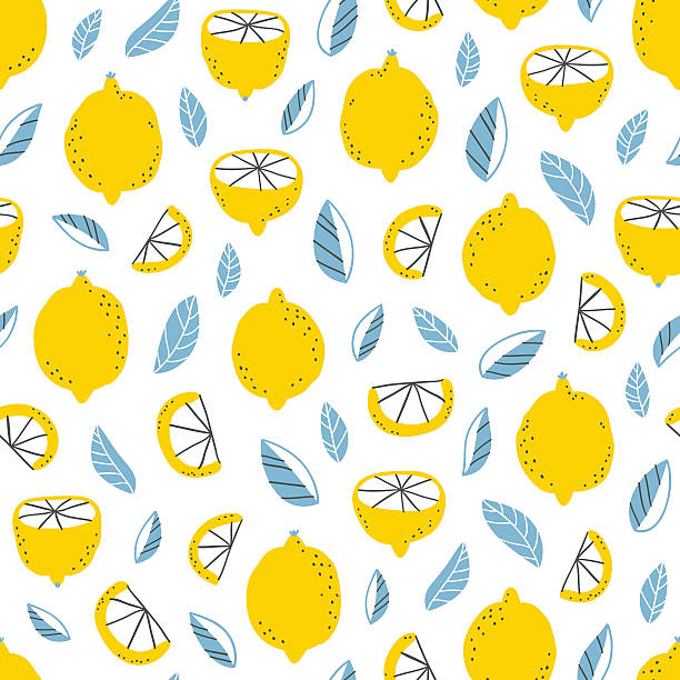 Lemons pattern Fresh lemons and leaves modern seamless pattern lemon fruit stock illustrations