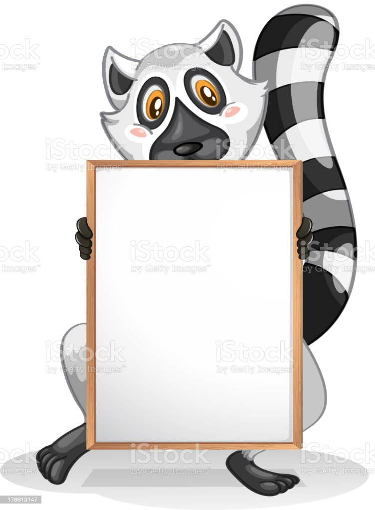 lemur holding an empty whiteboard