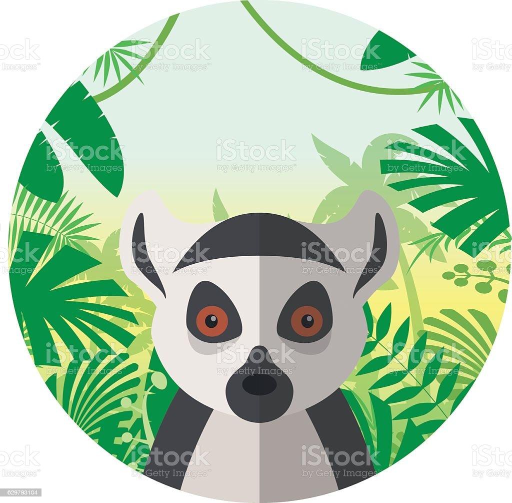Lemur on the Jungle Background vector art illustration