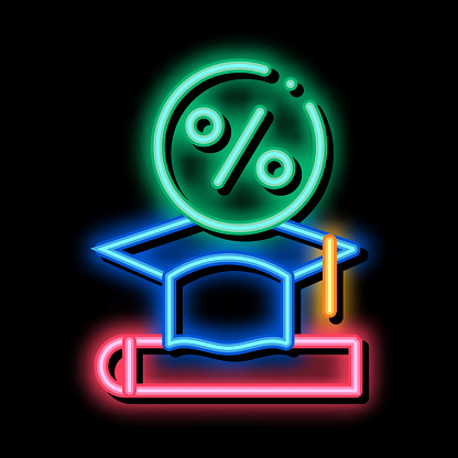 Lend Money To Pay For Tuition neon glow icon illustration