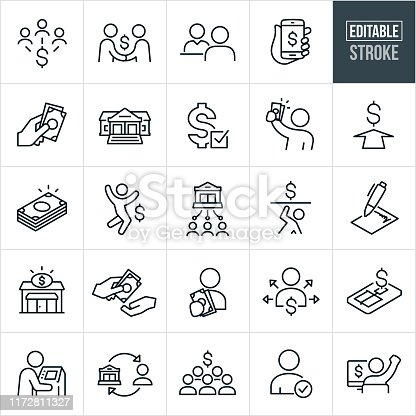 A set of lending and borrowing icons that include editable strokes or outlines using the EPS vector file. The icons include people getting money, bank, money lenders, bank teller, cash, loan approval, excited people, contract, money transfer, loans and other related icons.