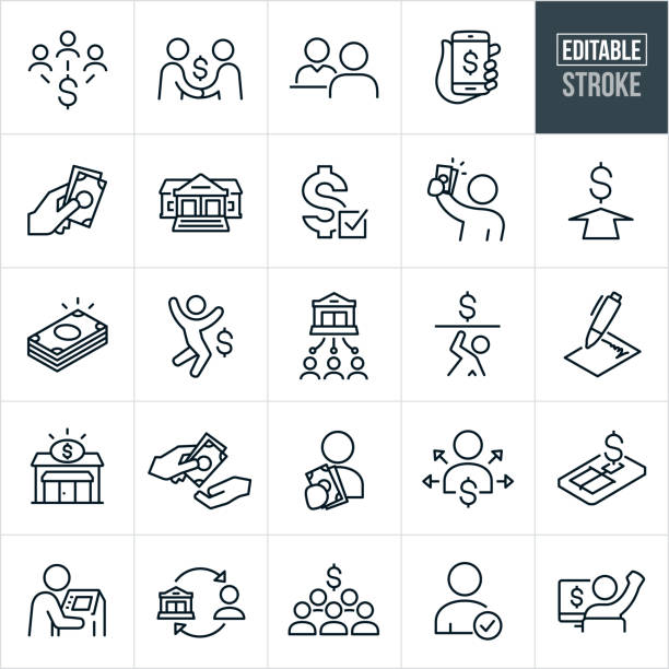 lending and borrowing thin line icons - editable stroke - bank stock illustrations