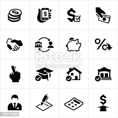 A set of icons symbolizing lending and loan concepts. The icons include money lending, a handshake or agreement, bank, loan, home, banker and money to name a few.