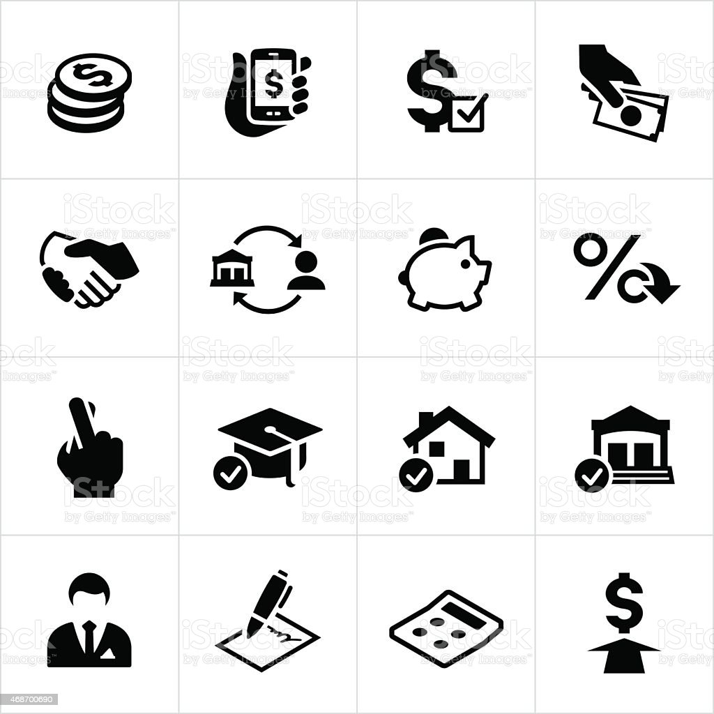 Lending and Loan Icons vector art illustration
